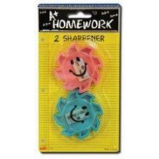 96 of Sharpeners - Pencil - Happy Face Design - 2 pack