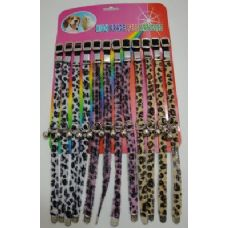"""144 of 12"""" Cat/Dog Collar with Bell-Furry Animal Print"""