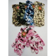 24 of Ladies Camo & Animal Print Fleece Gloves