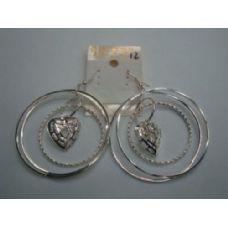 72 of Earrings-3 Hoop with Heart Charm