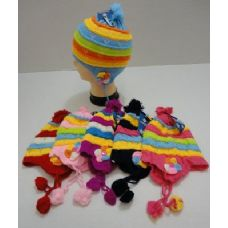 72 of Child's Knit Cap with Ear Flap and PomPom--Flowers