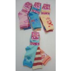 300 of Girls Printed Crew Socks 6-8