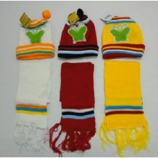 48 of Baby Knit Cap with Scarf--Butterflies
