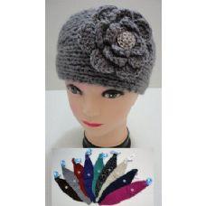 24 of Hand Knitted Ear Band--Flower & Gem