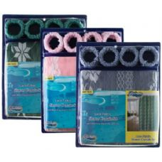 24 of Item# 1006 Lace Fabric Shower Curtain, Liner & Hook Set