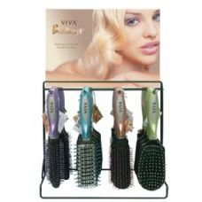 144 of Viva Brilliance Hairbrush On Metal Display Rack