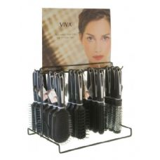 144 of Viva Black/White Hairbrush On Metal Display Rack