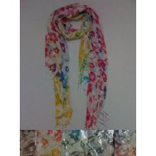 72 of Scarf with Fringe--Rainbow Floral
