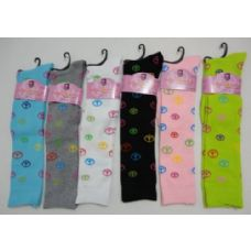120 of Ladies Knee High Socks 9-11 [Peace Signs]