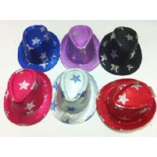 48 of Fedora Hat-Sequins with Stars