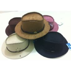 48 of Suede Cowboy Hat with Leather-Like Hat Band