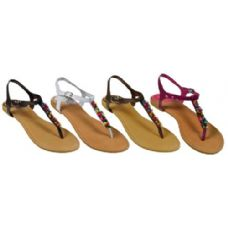 36 of Ladies Thong Flat Sandal With Color Beads