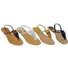 36 of Ladies Thong Flat Sandal With Crochet And Sequence