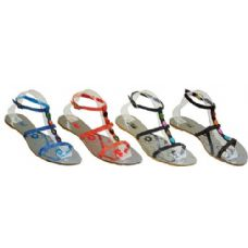 24 of Ladies Strap Sandal With Color Studs