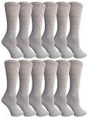 12 of SOCKSNBULK Bulk Pack Cotton Crew Socks, Size 9-11 (Gray)