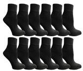 12 of SOCKSNBULK Women's Bulk Pack Cotton Ankle Socks, Size 9-11 (Black)