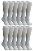 12 of SOCKSNBULK Bulk Pack Cotton Crew Socks, Size 9-11 (White)