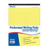 """6 of 50 Ct. 8.5"""" X 11.75"""" Canary Perforated Writing Pad (12/Pack)"""