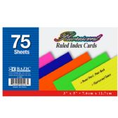 """36 of 75 Ct. 3"""" X 5"""" Ruled Fluorescent Colored Index Card"""