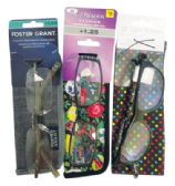 75 of FOSTER GRANT PREMIUM READING GLASSES WITH CASES ASSORTED STYLES AND POWERS +1.00 TO 1.50