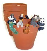 72 of LAND AND SEA DECORATIVE POT HANGERS WITH TERRA COTTA POTS SMALL ASSORTED ANIMAL DESIGNS