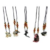 144 of LAND AND SEA WOODEN NECKLACE ASSORTED ANIMAL DESIGNS