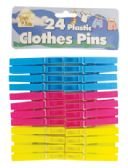 36 of PLASTIC CLOTHESPIN 24 PACK 2.75 INCH ASSORTED COLORS