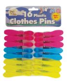 36 of PLASTIC CLOTHES PINS 16 PACK 3 INCH ASSORTED COLORS HEAVY DUTY