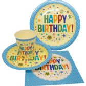 72 of PARTY SOLUTION PARTY SET HAPPY BIRTHDAY BOY INCLUDES 18 EACH- 8 CT 9 INCH PLATE/ 8 CT 7 INCH PLATE/8 CT 9 OZ CUPS/ 20 CT NAPKINS