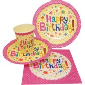 72 of PARTY SOLUTION PARTY SET HAPPY BIRTHDAY GIRL INCLUDES 18 EACH- 8 CT 9 INCH PLATE/ 8 CT 7 INCH PLATE/8 CT 9 OZ CUPS/ 20 CT NAPKINS