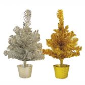 48 of TINSEL CHRISTMAS TREE 1 FOOT GOLD/SILVER