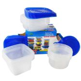 6 of FOOD CONTAINER SET 30 PIECES PLUS LIDS 10 ROUND 26 OUNCES 10 LARGE SQUARE 31 OUNCES 10 DEEP SQUARE 34 OUNCES DISHWASHER/MICROWAVE/FREEZER SAFE BPA FREE