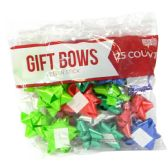 48 of GIFT BOWS 25 COUNT MEDIUM ASSORTED COLORS PEEL N STICK