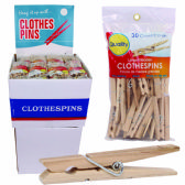 72 of QUALITY WOODEN CLOTHES PIN LARGE 30 PK IN DISPLAY