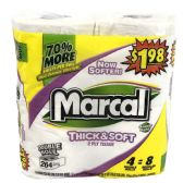 6 of MARCAL BATH TISSUE 264 SHEET6-DOUBLE ROLLS THICK AND SOFT PP $9.99