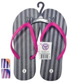 24 of LADIES FLIP FLOP STRIPED ASSORTED SIZES 5-10 AND COLORS