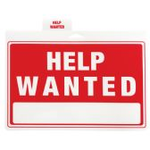 48 of PLASTIC SIGN HELP WANTED 12 X 9 INCHES