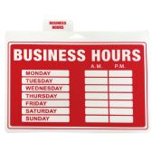 48 of PLASTIC SIGN BUSINESS HOURS 12 X 9 INCHES