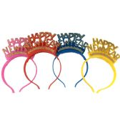 48 of PARTY SOLUTIONS HAPPY NEW YEAR LED FIBER OPTIC TIARA ASSORTED