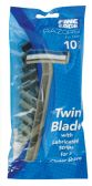 48 of FINE EDGE MEN'S TWIN BLADE BLACK RAZOR 10 PK WITH LUBRICATING STRIP