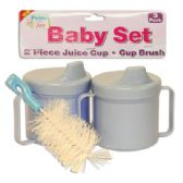 36 of BABY SET 3 PK - 2 PC 8 OZ JUICE CUPS + 1 PC CUP BRUSH ASSORTED COLORS