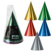12 of Pkgd Foil Cone Hats asstd colors; medium head size; elastic attached