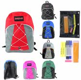 "24 of 17"" Classic Bungee PureSport Backpack & High School Supply Kit Sets"