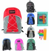 "24 of 17"" Classic Bungee PureSport Backpack & Elementary School Supply Kit Sets"