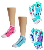 24 of Toddler Girl's Low Cut Novelty Socks - Sneaker Print - Size 2-4