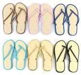 96 of Women's Bamboo Flip Flops - Solid Color Trim