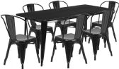 31.5'' x 63'' Rectangular Black Metal Indoor-Outdoor Table Set with 6 Stack Chairs