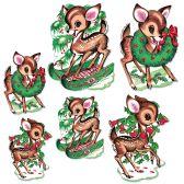 12 of Vintage Christmas Reindeer Cutouts prtd 2 sides