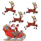 12 of Vintage Christmas Santa & Sleigh Cutouts prtd 2 sides