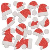 12 of Santa Hat Deluxe Sparkle Confetti red & silver